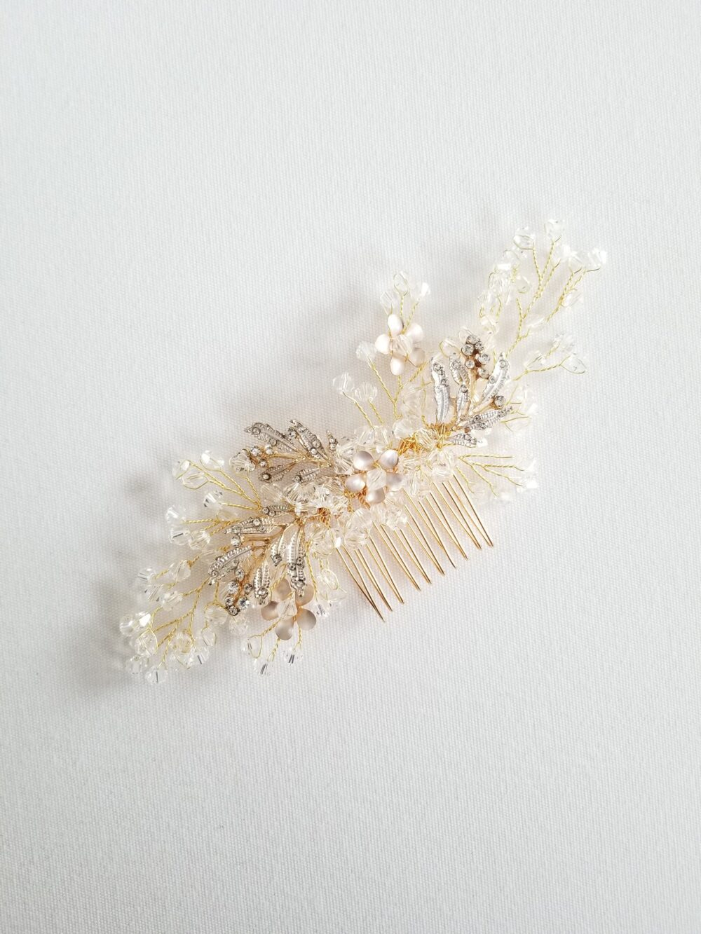 Crystal Bridal Comb, Gold Wedding Hair Floral Comb For Bride