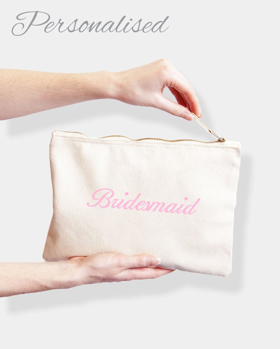 Personalised Wedding Bridal Party Clutch Rectangular Makeup Bag, Embroidered With Any Names Or Bridal Roles, Bride, Bridesmaid