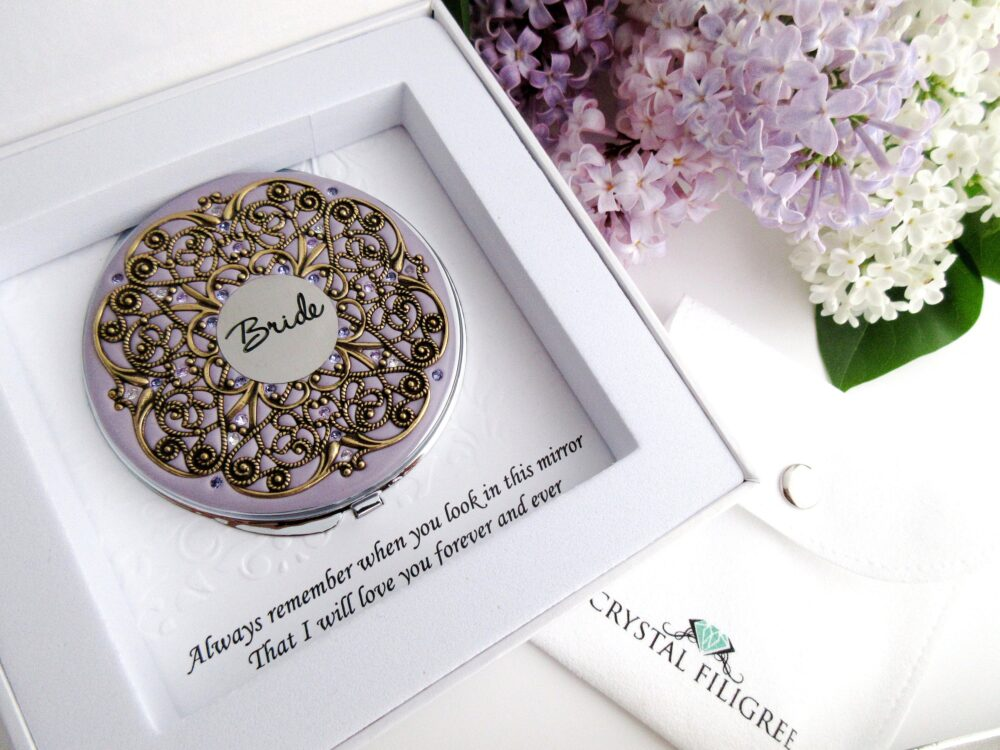Bridal Vintage Wedding Golden Compact Mirror Extra Large Custom Color, Groom To Bride Gift, Party Gifts Real Swarovski Crystals
