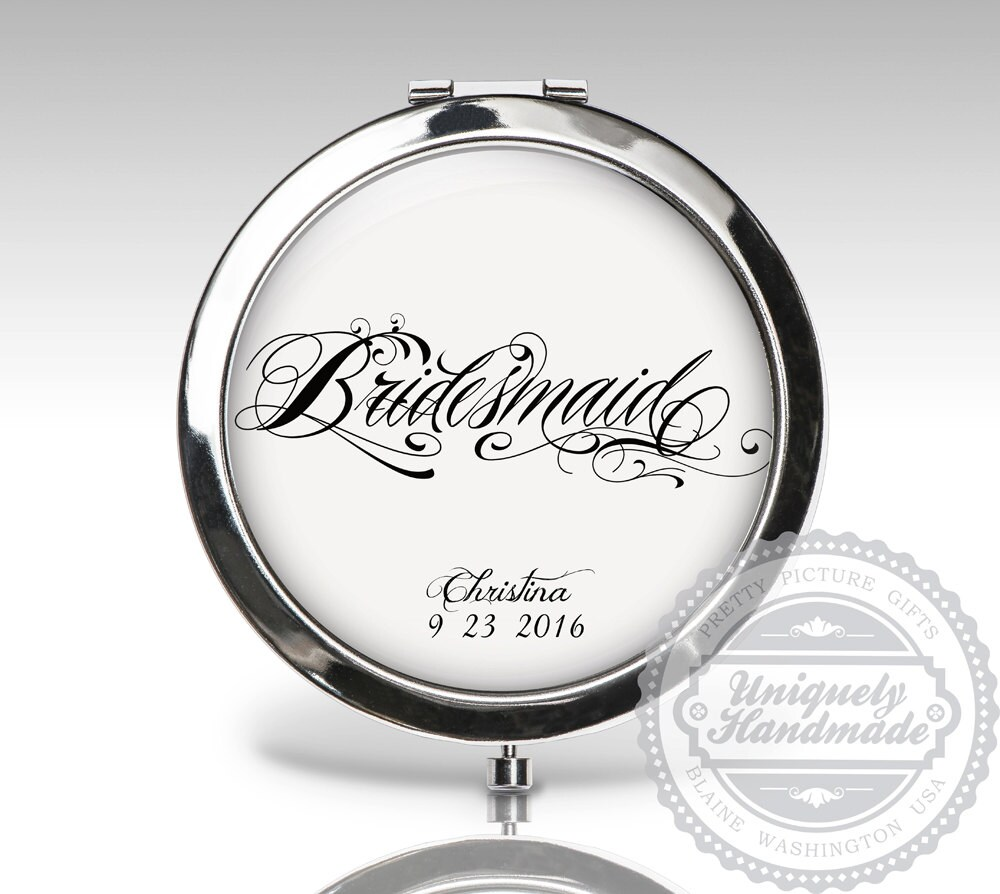 Bridesmaids Gift, Wedding Compact Mirror, Bridal Party Personalized Custom Bride Gift C79