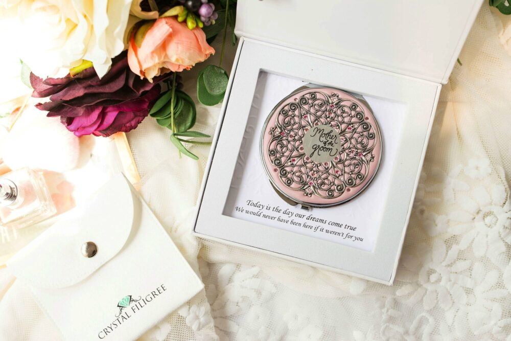 Mother Of The Groom Gift   Wedding Compact Mirror To Mother, Party Gifts Real Swarovski Crystals