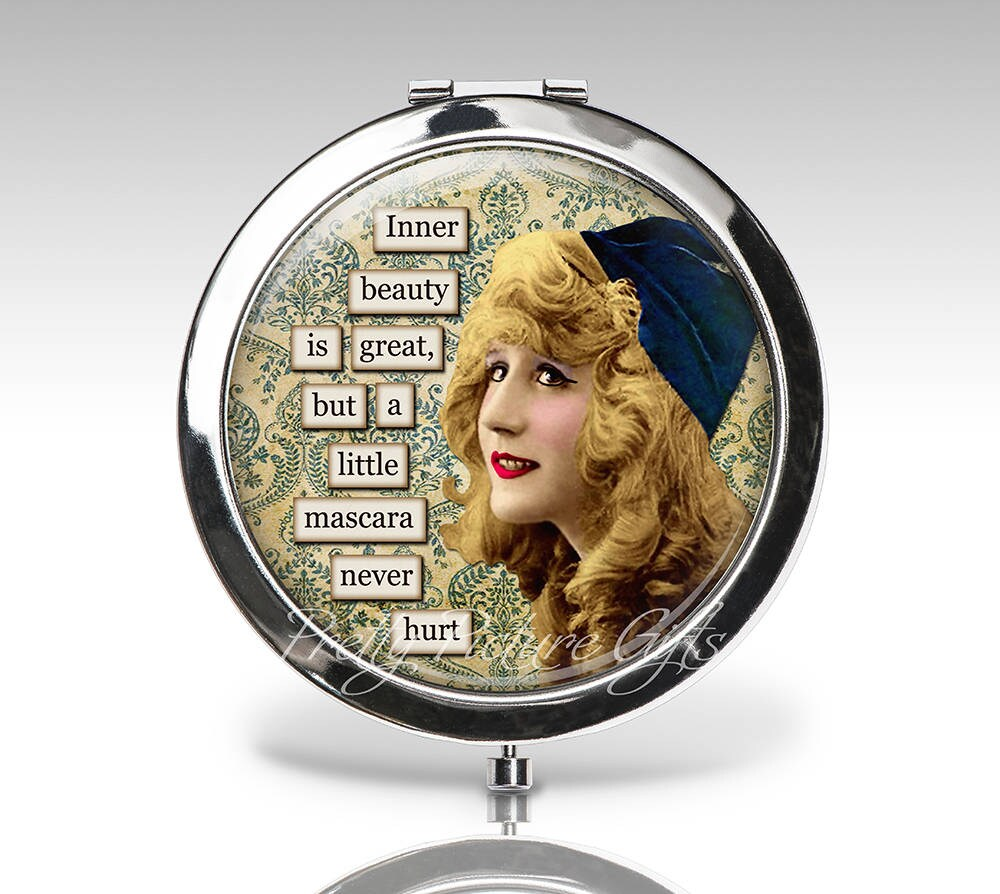 Custom Compact Mirror, Funny Wedding Party Favor Magnifying Gift For Her Personalized Compact, Bridesmaids Gifts, Mirror C89
