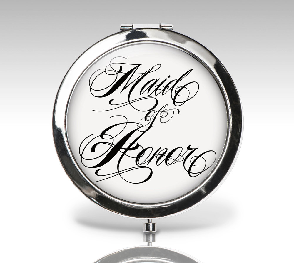 Maid Of Honor Gift, Wedding Compact Mirror, Bridal Party Personalized Custom Bride Gift C80