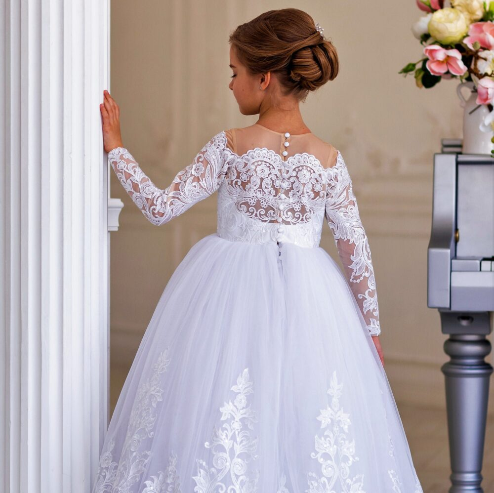 White Flower Girl Dress - Wedding Baby First Communion Birthday -Pageant Ball Gown Lace