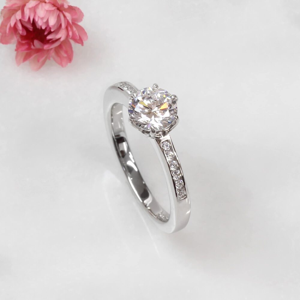1 Carat Diamond Simulant Ring, Sterling Silver Wedding Round Cz Stone Classic Solitaire Engagement Channel Set Band