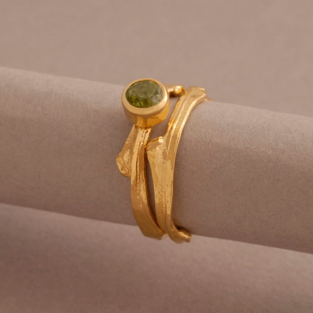 Gold Plated Silver Peridot Wedding Set, Green Gemstone Engagement Ring & Matching Band, Tree Branch Rings Made To Fit Dt35