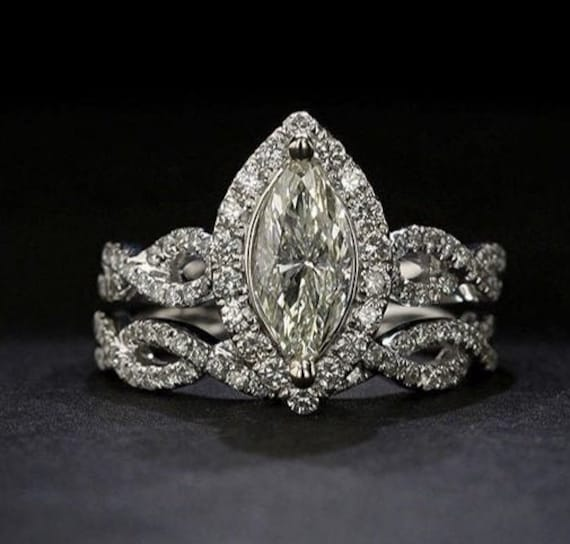 14K Solid Gold Ring, 1.50Ct Marquise Cut Moissanite Engagement Ring/Infinity Wedding Set /Halo Style /Simulated Diamond