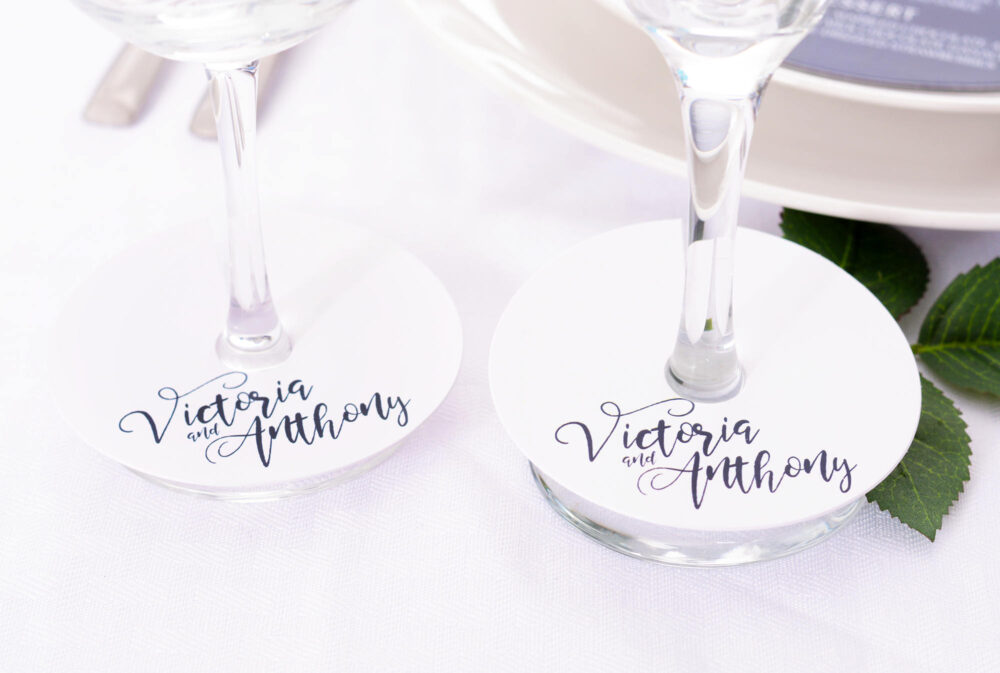 Wedding Wine Glass Tags - Champagne Floral Markers Personalized Stem Tag Circles Wdim-269