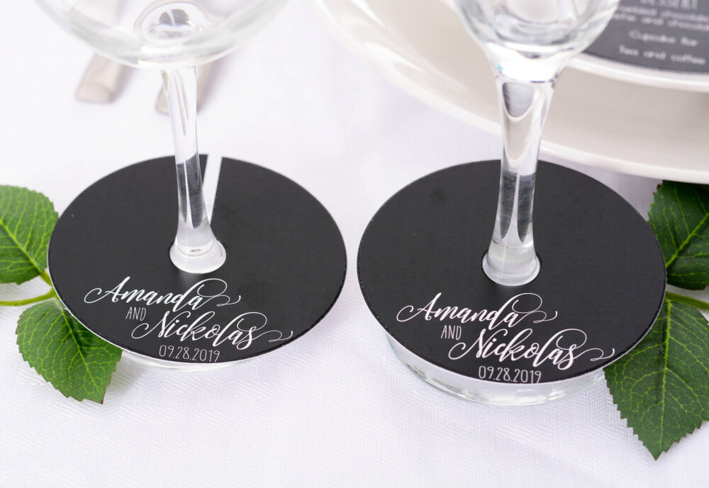 Wedding Wine Glass Tags - Champagne Tag Vintage Markers Personalized Stem Circles Wdim-260