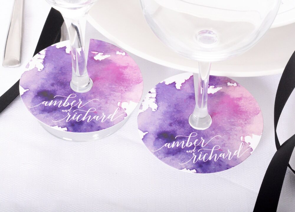 Wedding Wine Glass Tags - Champagne Tag Watercolor Wineglass Personalized Stem Circles Wdim-254