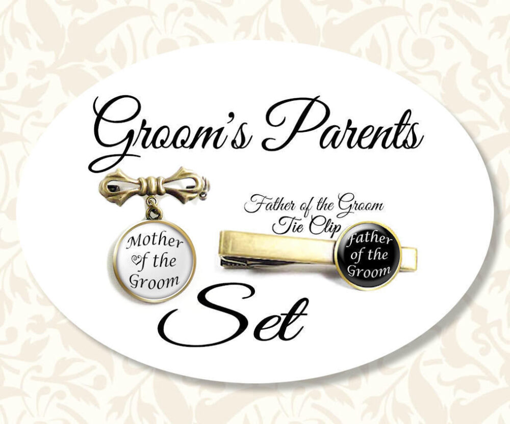 Parents Of The Groom Tie Clip & Pin Set, Mother Brooch, Father Bar, Gift For Groom, Wedding Set