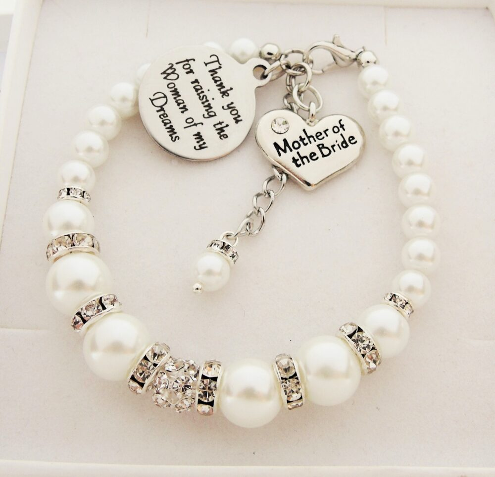 Woman Of My Dreams Gift From The Groom Wedding Bracelet Mother Bride Wedding