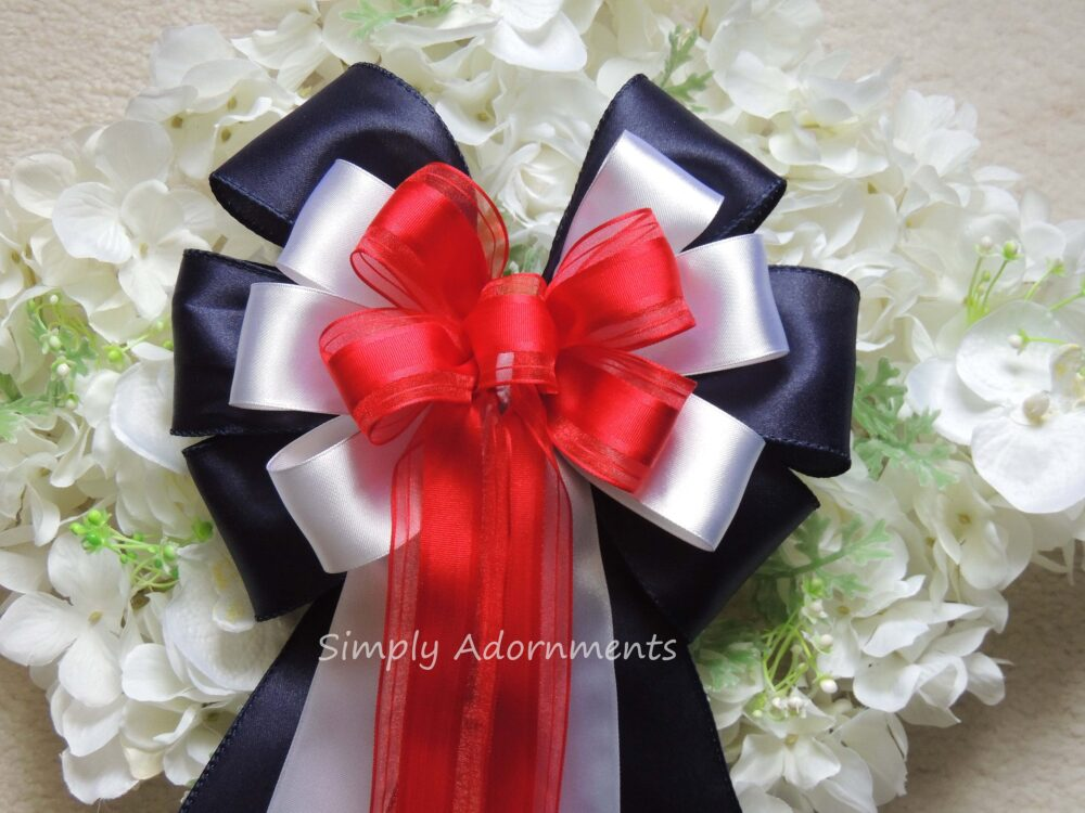Red White Blue Bow Patriotic Wedding Pew Gift 4Th Of July Party Decor Wreath Independence Day