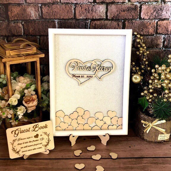 White Twinkle Wedding Guest Book Alternative, Wedding Guestbook, Heart Drop Box, Guest Box, Drop Box Hearts, Unique Sign