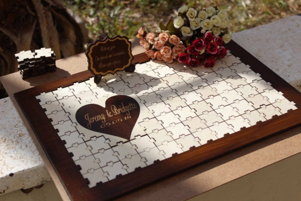 Wedding Guest Book Alternative Wood, Guestbook Wedding Alternative, Guest Book Puzzle, Wooden Heart Book, Puzzle