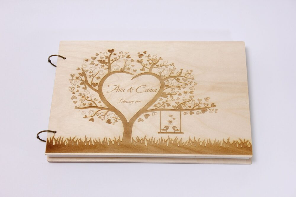 Wedding Guestbook, Photo Album Tree Love, Guest Book, Photo Love Story. Personalized Book