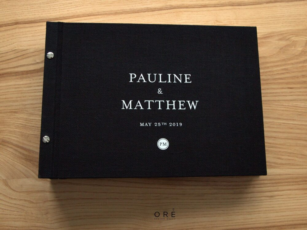 Black Wedding Album With White Lettering, Photo Guest Book, Instax Boot Album