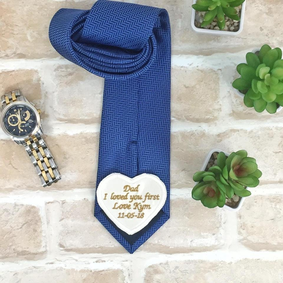 Wedding Tie Patch, Dad, I Loved You First Label, Father Of The Bride Gift, Personalised Patch Heart Shaped, Custom Suit Label