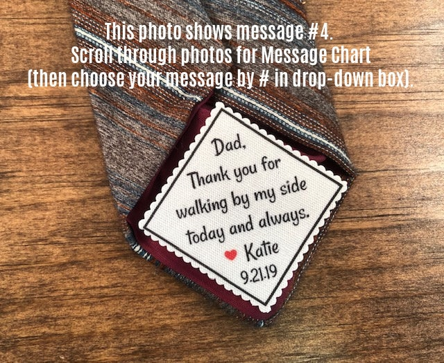 """Gifts For Him - Wedding Tie Patch Father Of Bride, The Groom, Groom 2"""" Wide Patch, Sew Or Iron, Skinny Tie, Choose Font"""