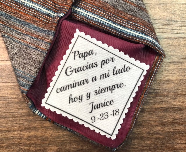 """Wedding Tie Patch - Father Of The Bride Gift For Dad, Spanish, English, 2"""" Or 2.5"""" Wide Patch, Sew On Iron On, Ink Printed"""