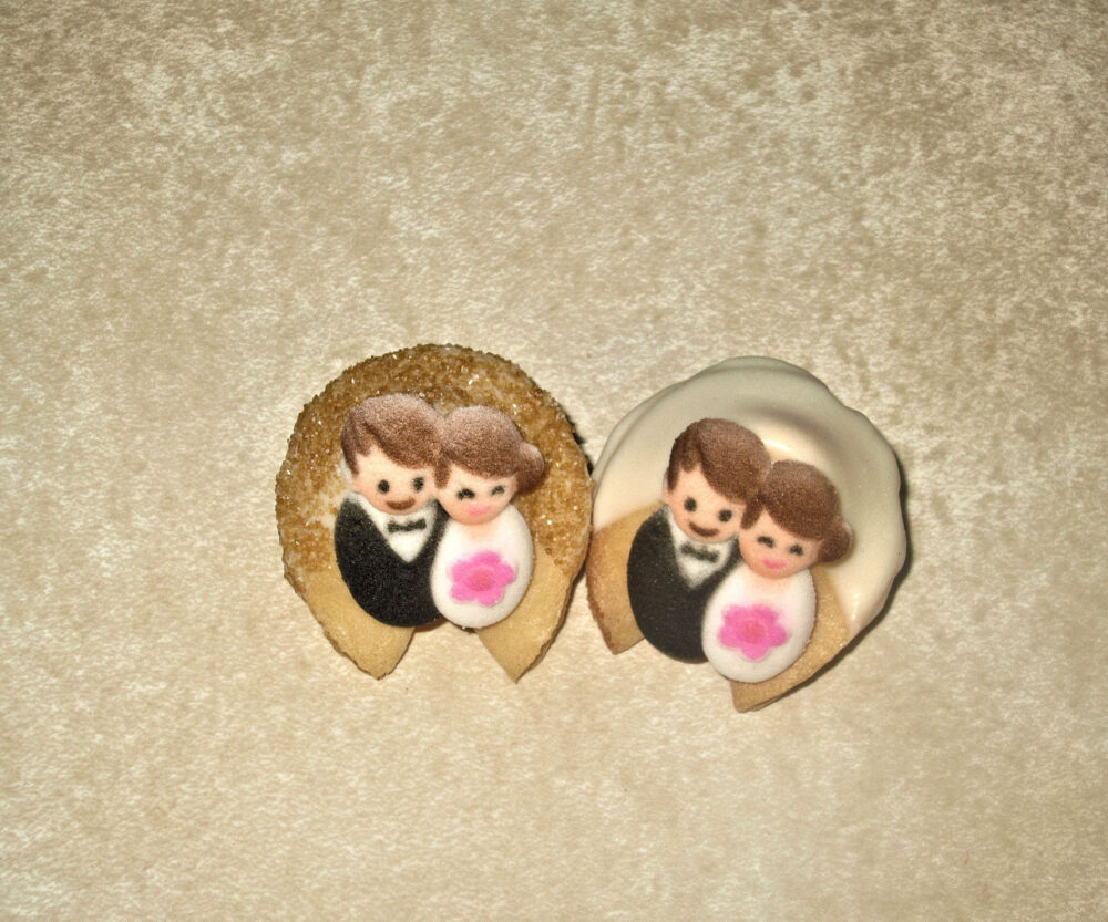 12 White & Gold Bride & Groom Fortune Cookies, Bridal Shower Favors, Wedding Party Gift, Gift