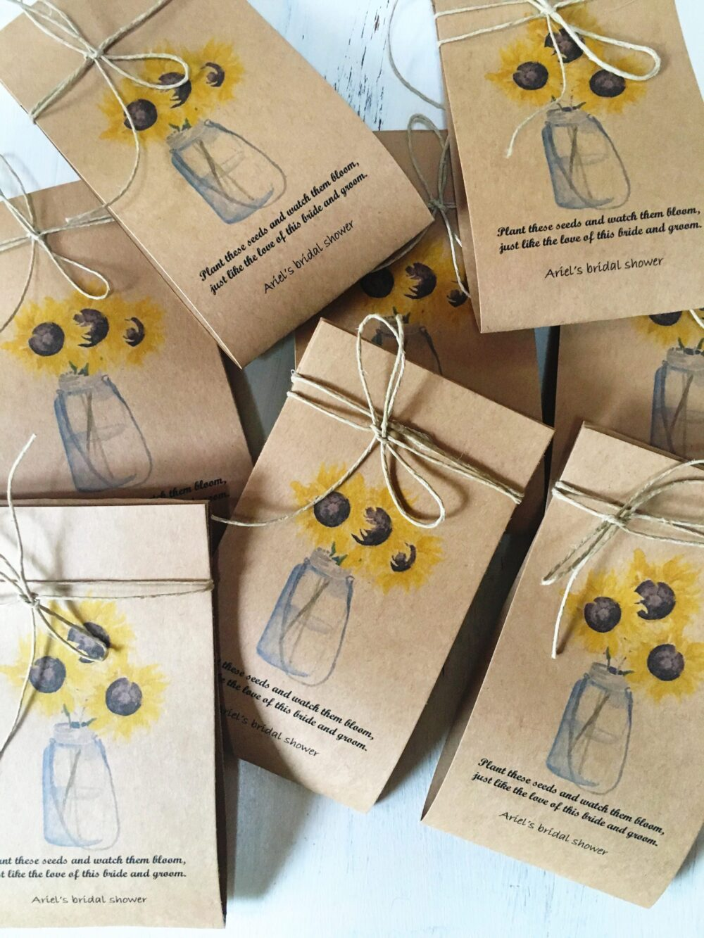 Sunflower Seed Favors - 65 Wedding Favor Spread The Love Grows Flower Seeds Watch Our Grow Love Grows