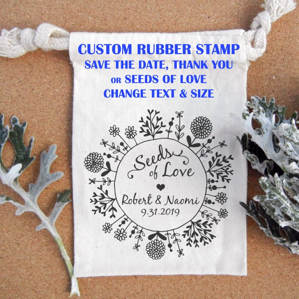 Wedding Favor Seed Packet, Save The Date Or Thank You Custom Rubber Stamp // Handmade By Blossom Stamps