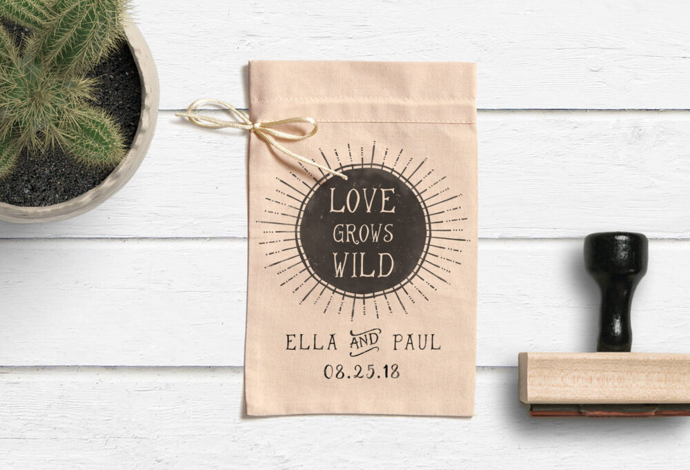 Love Grows Wild Stamp - Wedding Favor Seed Packet Stamp- Bag Favors -Custom Let Grow Tag