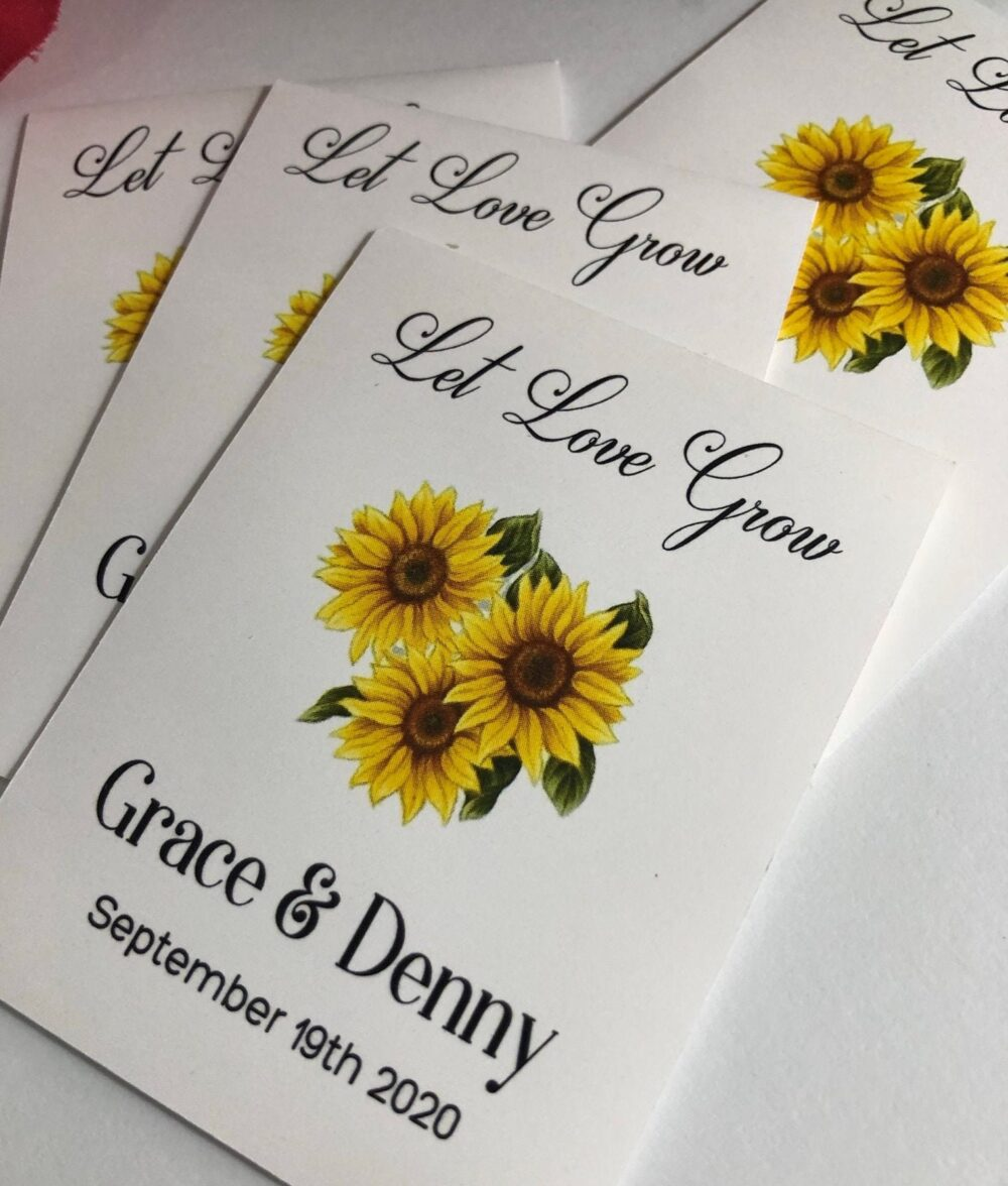 Sunflower Wedding Favor Seed Packets, Earth Friendly Custom Personalized Beautiful Favors, Seeds Included, Let Love Bloom, Is Blooming