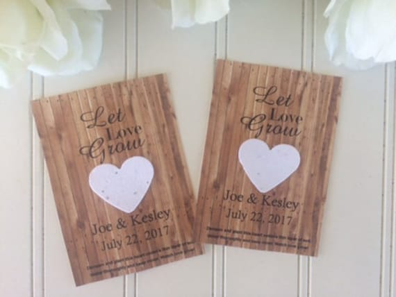 Plantable Paper Wedding Favors, Seed Paper, Plantable Heart Seed Packets, Favors