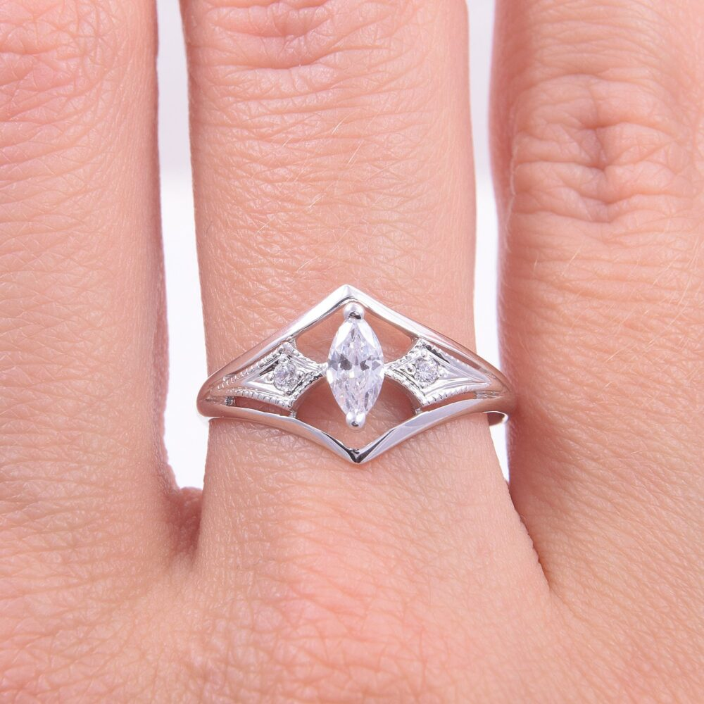 Engagement Ring Gold, White Gold Ring, Women Art Deco Cz Marquise Cz