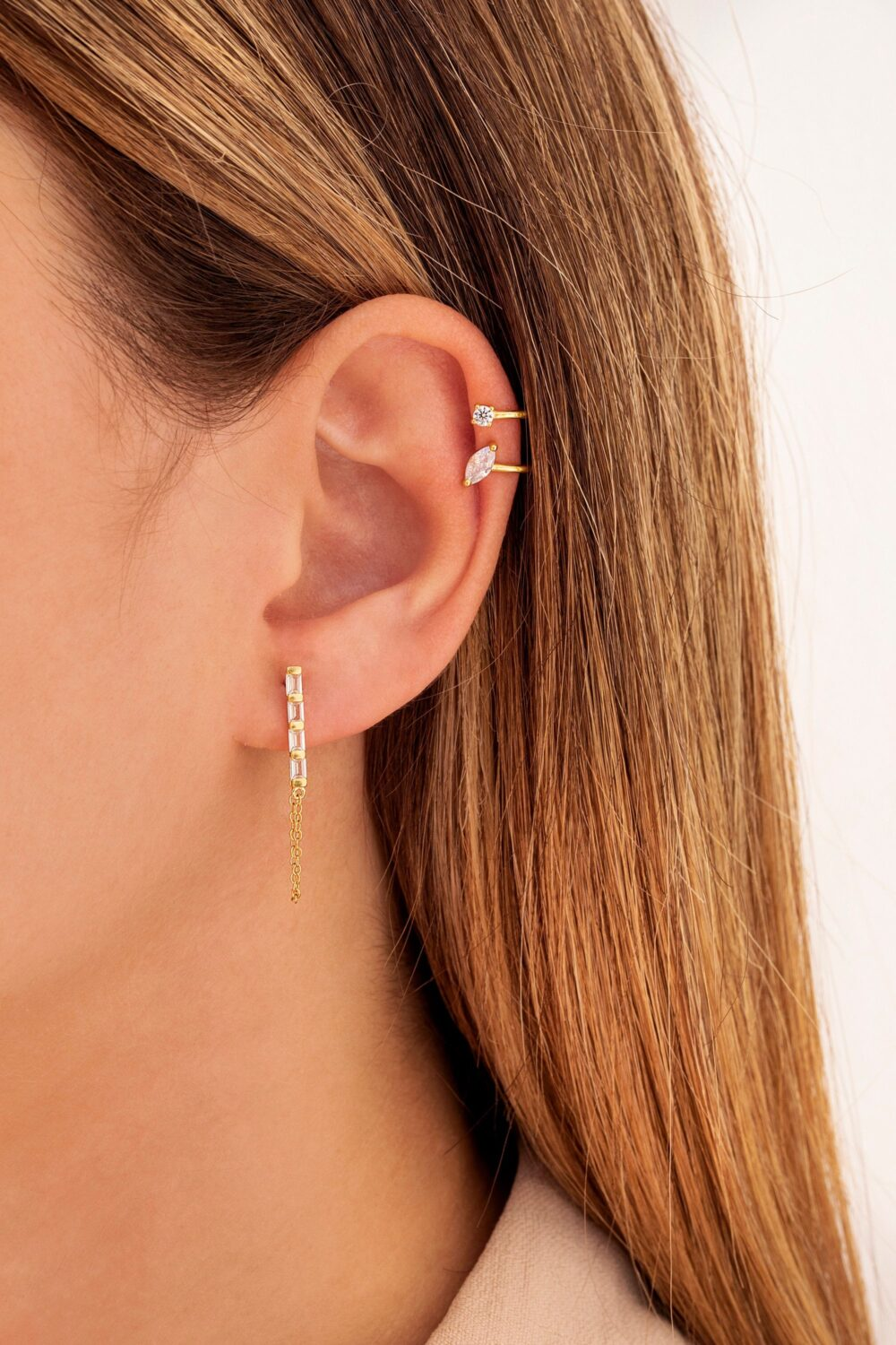 Dainty Marquise & Round Cz Double Band Ear Cuff Earrings