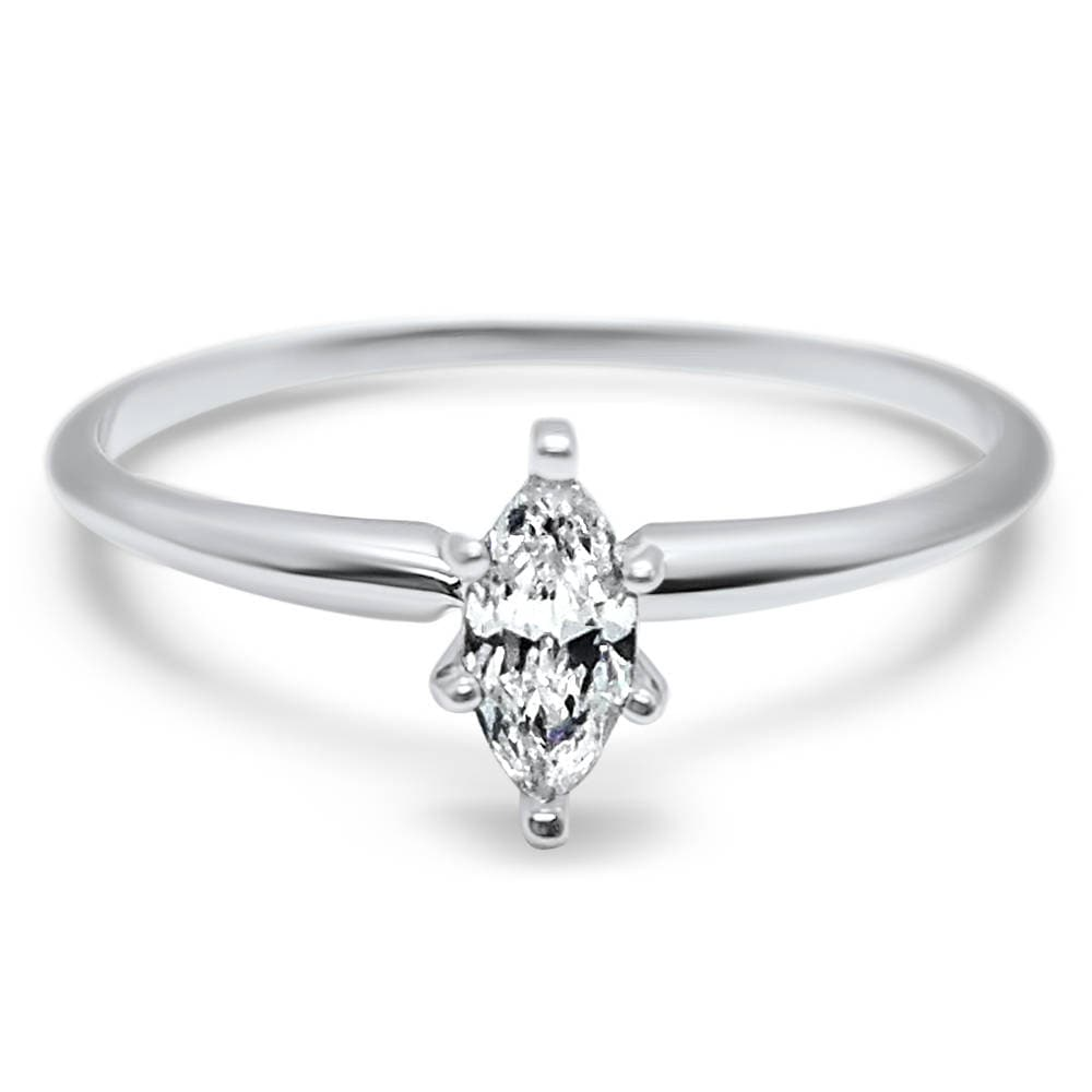 14K Marquise Cz Engagement Ring, 1/4 Carat 1/2 3/4 Marquise, Solitaire Ring