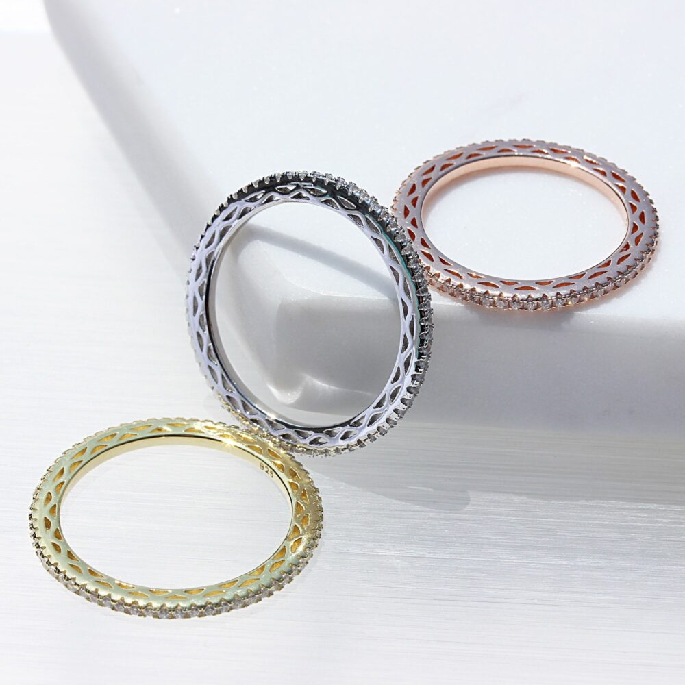 Stacking Rings Eternity Band Ring Set 14K Gold Plated Sterling Silver Hypoallergenic