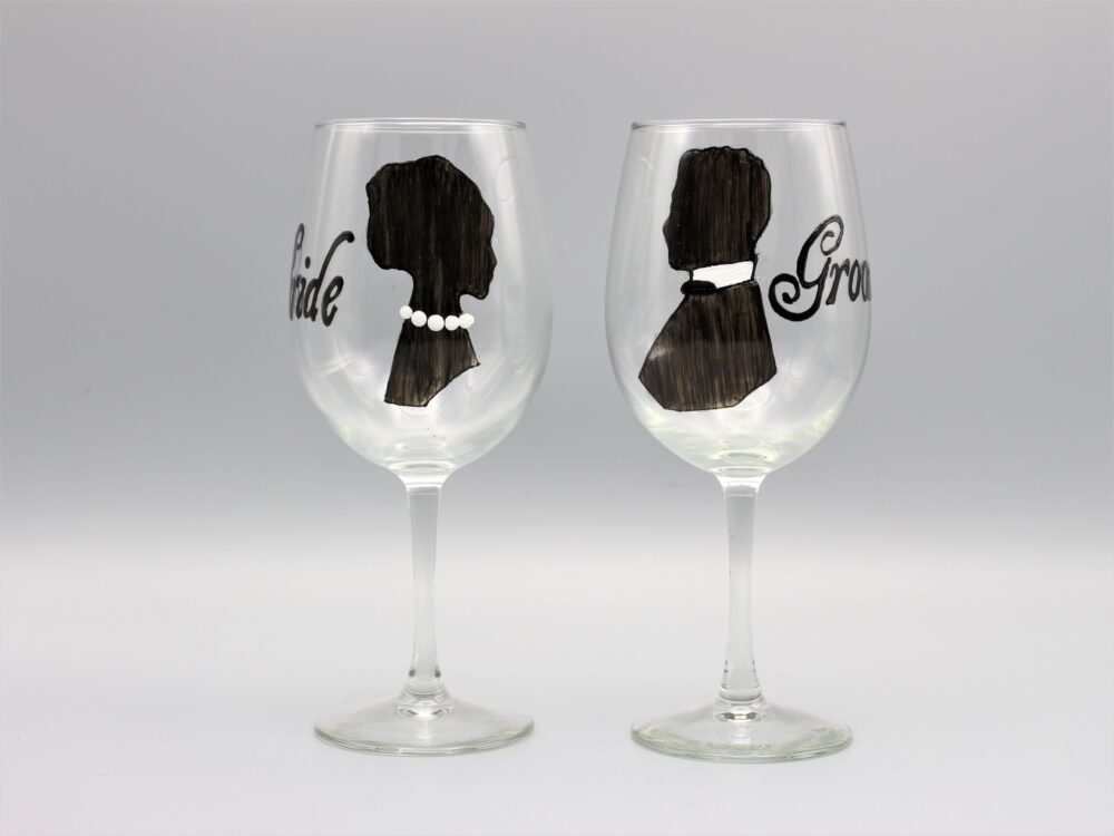 Personalized Wedding Wine Glasses For The Bride & Groom, Groom Silhouette, Gift For Couple, Set Of Two