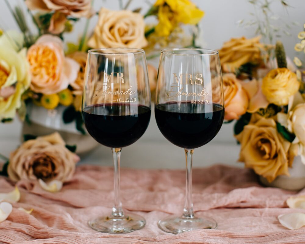 Personalized Wedding Wine Glasses | Set Of Two Custom Engraved Vina Glass, Pair Couples Engagement Anniversary Gift