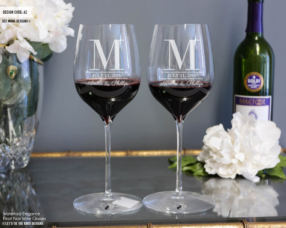 Personalized Wedding Wine Glasses Waterford Elegance | Set Of Two Custom Engraved Pinot Noir Red Glasses, Gift, Engagement Gift