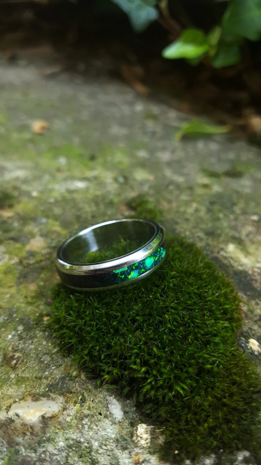 Wedding Ring, Promise Stainless Steel Ring With Crushed Black Tourmaline & Green Opal