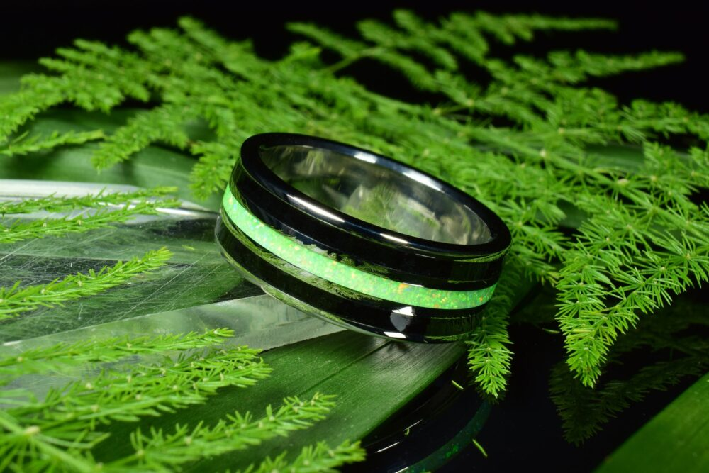 Wedding Ring, Stainless Steel Ring With Crushed Black Tourmaline & Light Green Opal