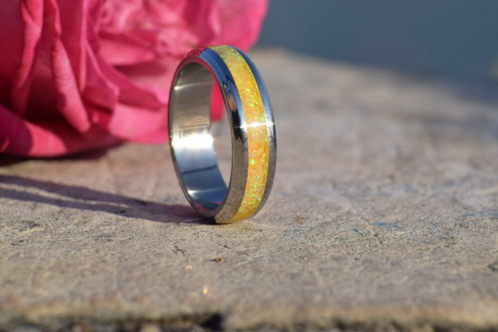 Wedding Ring, Promise Stainless Steel Ring With Crushed Yellow Opal
