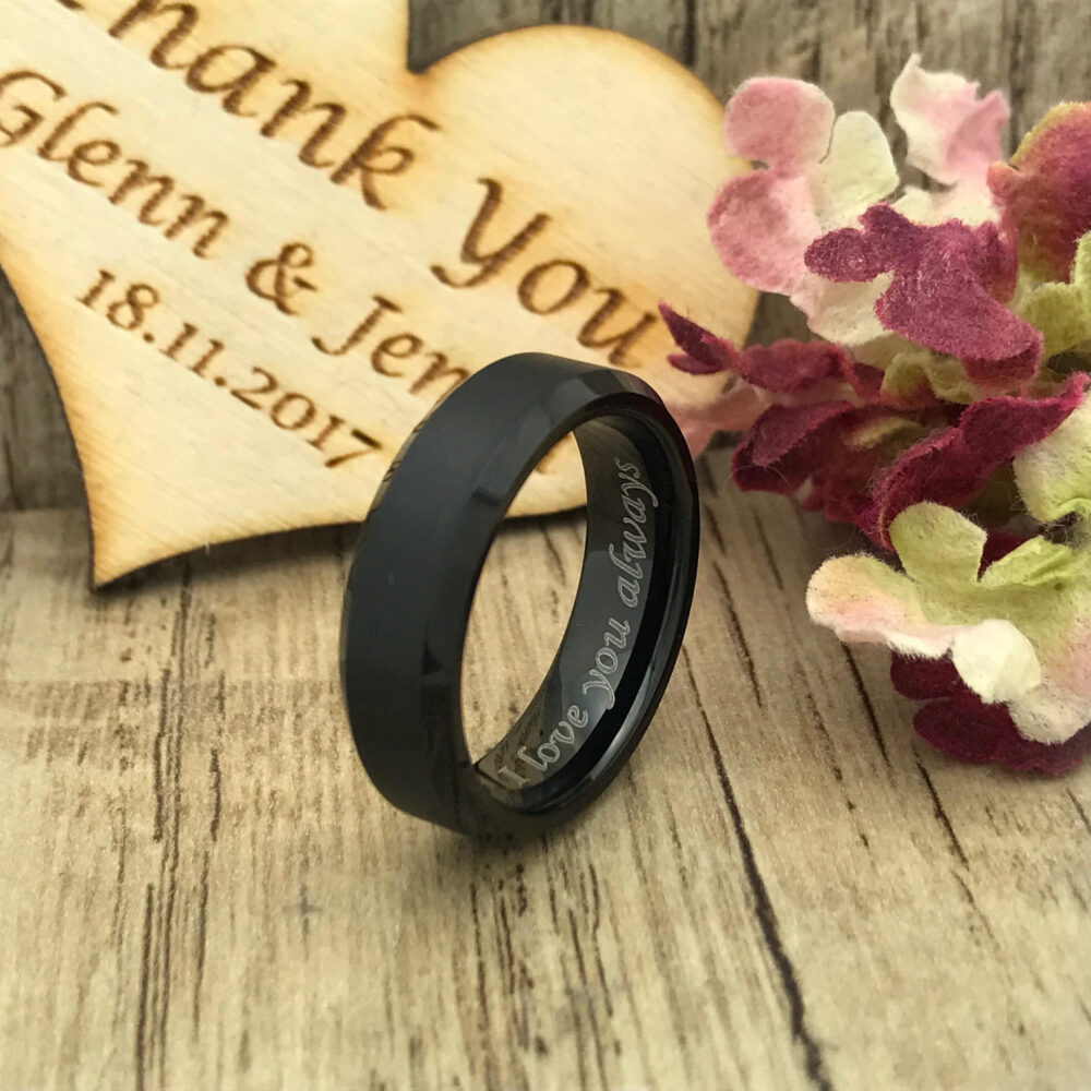 6mm Black Wedding Ring, Personalize Plated Stainless Steel Ring Band