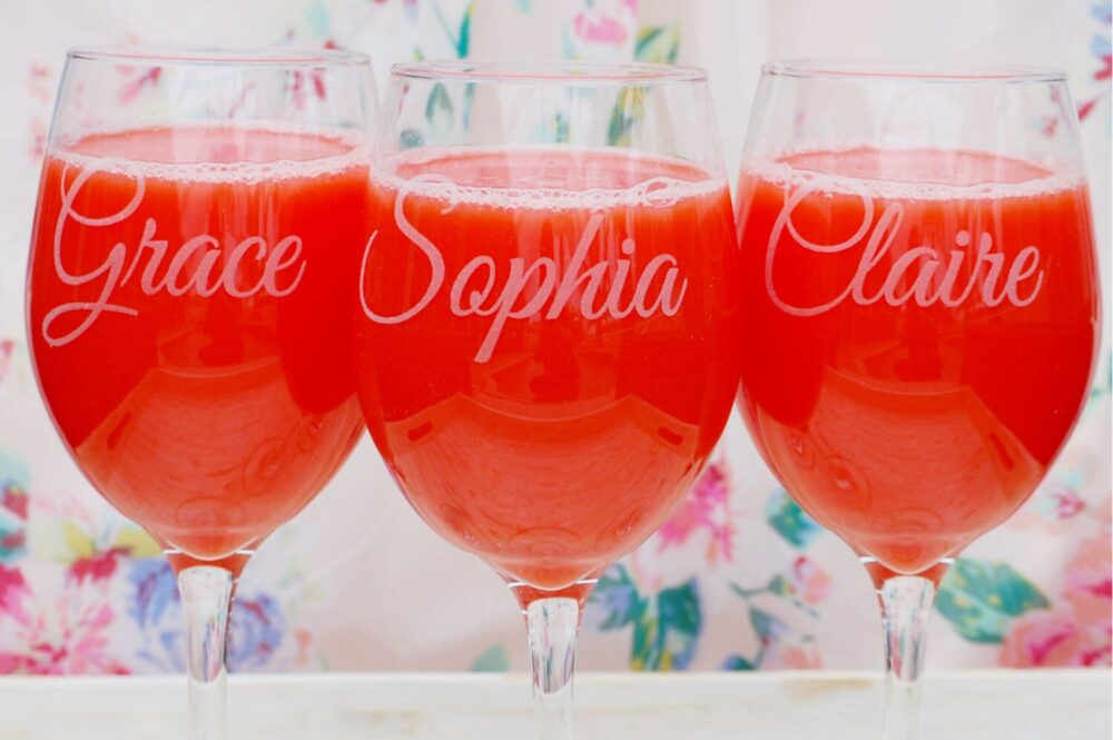 Personalized Wedding Party Favors, Wine Glasses, Custom Engraved Toasting Bridesmaid Gift, Bridal Glass