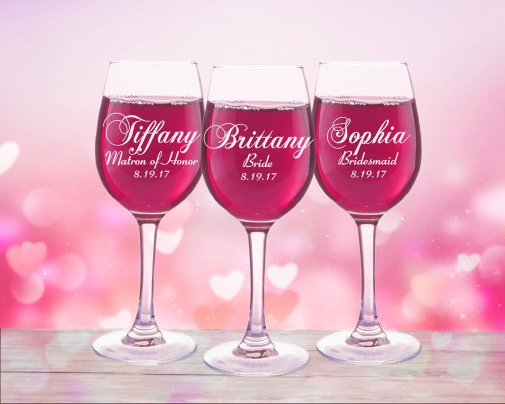 9 Personalized Wedding Party Favors, Wine Glasses, Custom Engraved Toasting Bridesmaid Gift, Bridal Glass