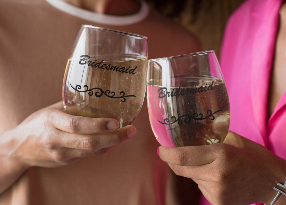 Bridesmaid Glasses Gift Ideas Wedding Party Favors For Bride Tribe, Stemless Wine Glass Gifts Women From Bride & Groom, Bridal