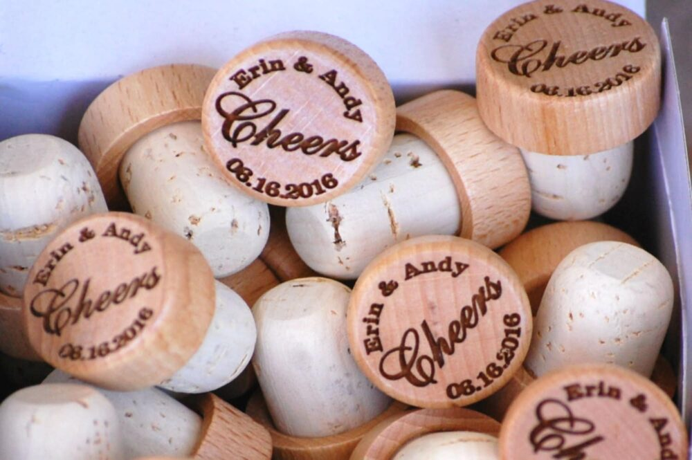 Personalized Wedding Wine Stopper Gift, Engraved Favor Corks, Customized Bridal Shower Cork