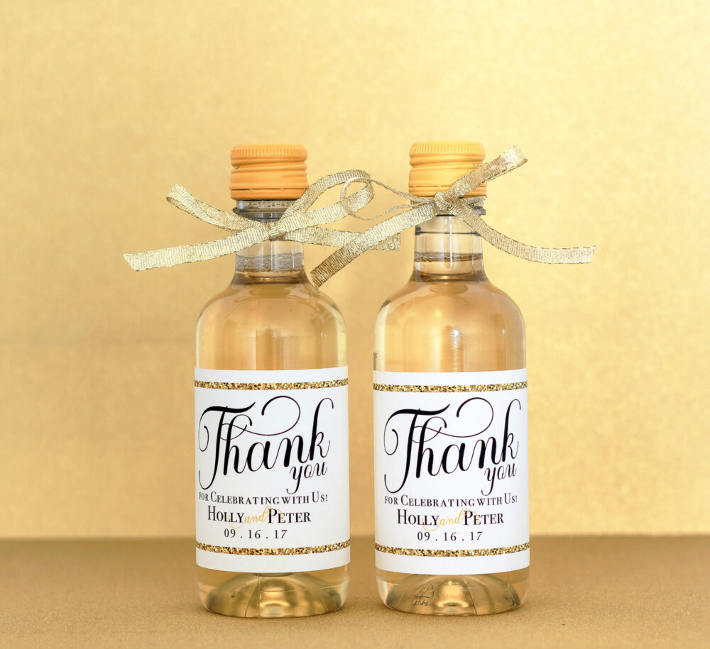 Gold Wedding Mini Wine Bottle Labels - Personalized Favor For Guest Gift Thank You
