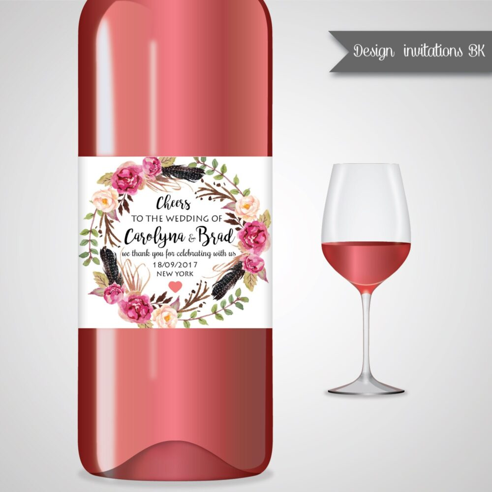 Wedding Wine Labels, Label Wedding, Personalized Gifts, Favors, Champagne Gift Ideas Wl03