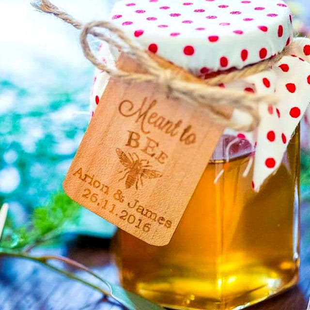 Wedding Favor Tags, Honey Meant To Bee Rustic Gift Thank You Personalized Engraved Tags