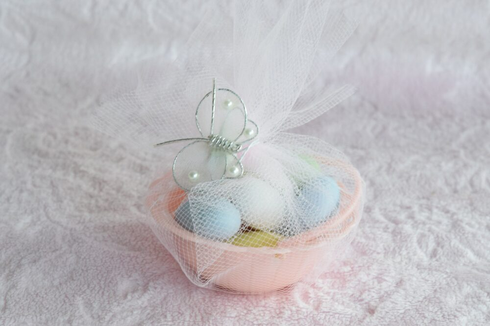 Vintage Birthday Party Favor Basket Nut Cup Holder Pink Plastic Decoration 1950 Wedding Shower Fake Faux Jelly Bean Candy Easter