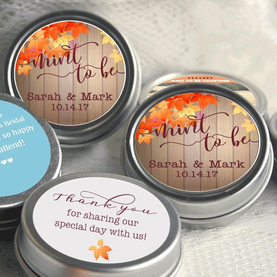 Fall Wedding Favors - Mint To Be Rustic Bridal Shower Favor Keepsake Thank You Gift 12 Personalized Mints